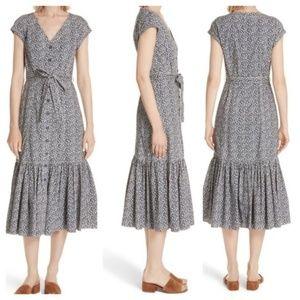 Rebecca Taylor Tie Waist Button Front Cotton Dress